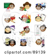 Royalty Free RF Clipart Illustration Of A Digital Collage Of Teacher Farmer Police Officer Baker Firefighter Nurse Stylist Artist Eye Doctor Doctor Mail Carrier And Barber Occupational Icons