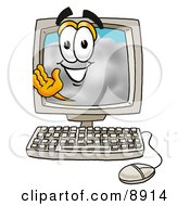 Clipart Picture Of A Cloud Mascot Cartoon Character Waving From Inside A Computer Screen