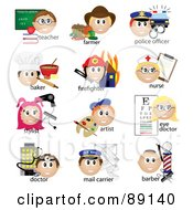 Royalty Free RF Clipart Illustration Of A Digital Collage Of Teacher Farmer Police Officer Baker Firefighter Nurse Stylist Artist Eye Doctor Doctor Mail Carrier And Barber Occupation Icons With Text by Pams Clipart