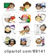 Royalty Free RF Clipart Illustration Of A Digital Collage Of Teacher Farmer Police Officer Baker Firefighter Nurse Stylist Artist Eye Doctor Doctor Mail Carrier And Barber Occupational Icons With Text by Pams Clipart