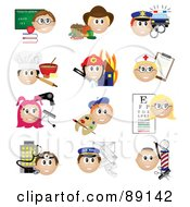 Royalty Free RF Clipart Illustration Of A Digital Collage Of Teacher Farmer Police Officer Baker Firefighter Nurse Stylist Artist Eye Doctor Doctor Mail Carrier And Barber Occupation Icons