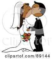 Royalty Free RF Clipart Illustration Of A Hispanic Wedding Couple Smooching