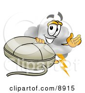 Clipart Picture Of A Cloud Mascot Cartoon Character With A Computer Mouse