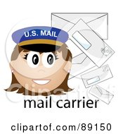 Royalty Free RF Clipart Illustration Of A Female Caucasian Mail Carrier With Letters