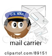 Royalty Free RF Clipart Illustration Of A Male African Mail Carrier With Letters
