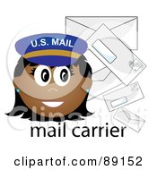 Royalty Free RF Clipart Illustration Of A Female Hispanic Mail Carrier With Letters