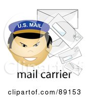 Royalty Free RF Clipart Illustration Of A Male Asian Mail Carrier With Letters
