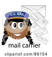 Royalty Free RF Clipart Illustration Of A Female African Mail Carrier With Letters