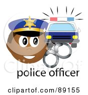 Royalty Free RF Clipart Illustration Of A Male Hispanic Police Officer With Handcuffs And A Car