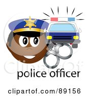 Royalty Free RF Clipart Illustration Of A Male African Police Officer With Handcuffs And A Car
