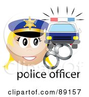 Royalty Free RF Clipart Illustration Of A Female Caucasian Police Officer With Handcuffs And A Car