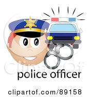 Royalty Free RF Clipart Illustration Of A Male Caucasian Police Officer With Handcuffs And A Car