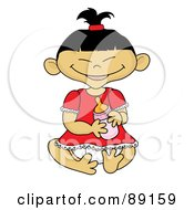 Royalty Free RF Clipart Illustration Of An Asian Baby Girl Holding A Bottle by Pams Clipart
