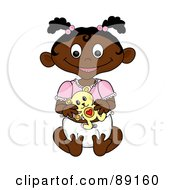 Royalty Free RF Clipart Illustration Of A Black Baby Girl Holding A Teddy Bear by Pams Clipart