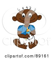 Royalty Free RF Clipart Illustration Of A Black Baby Goy Holding A Bottle by Pams Clipart