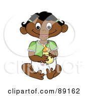 Royalty Free RF Clipart Illustration Of An Indian Baby Girl Holding A Bottle by Pams Clipart
