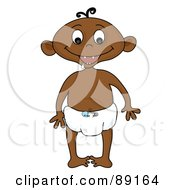 Royalty Free RF Clipart Illustration Of A Black Baby Boy Standing In A Diaper