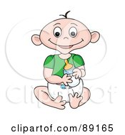 Royalty Free RF Clipart Illustration Of A Caucasian Baby Goy Holding A Bottle by Pams Clipart