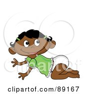 Royalty Free RF Clipart Illustration Of A Crawling Baby Indian Girl