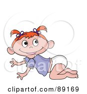 Royalty Free RF Clipart Illustration Of A Crawling Baby Red Haired Caucasian Girl