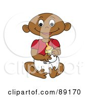 Royalty Free RF Clipart Illustration Of An Indian Baby Goy Holding A Bottle by Pams Clipart