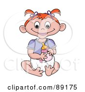 Royalty Free RF Clipart Illustration Of A Red Haired Caucasian Baby Girl Holding A Bottle by Pams Clipart