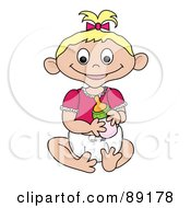 Royalty Free RF Clipart Illustration Of A Blond Caucasian Baby Girl Holding A Bottle by Pams Clipart