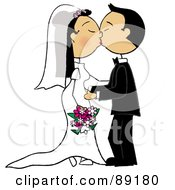 Royalty Free RF Clipart Illustration Of An Asian Wedding Couple Smooching