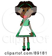 Royalty Free RF Clipart Illustration Of A Black Doodle Girl Eating An Apple
