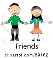 Royalty Free RF Clipart Illustration Of A Stick Asian Couple Holding Hands Over Friends