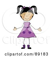 Royalty Free RF Clipart Illustration Of A Stick Asian Girl In A Purple Dress
