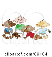 Royalty Free RF Clipart Illustration Of A Group Of Black White Indian And Asian Babies