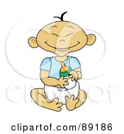 Royalty Free RF Clipart Illustration Of An Asian Baby Boy Holding A Bottle by Pams Clipart