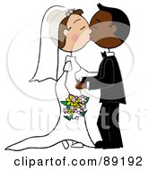 Royalty Free RF Clipart Illustration Of A Caucasian And African Wedding Couple Smooching
