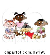 Royalty Free RF Clipart Illustration Of A Group Of Black White Indian And Asian Baby Girls