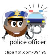 Royalty Free RF Clipart Illustration Of A Female African Police Officer With Handcuffs And A Car