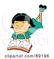 Royalty Free RF Clipart Illustration Of An Asian Girl Laying On Her Belly And Reading A Book by Pams Clipart