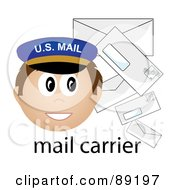 Royalty Free RF Clipart Illustration Of A Male Caucasian Mail Carrier With Letters