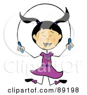 Royalty Free RF Clipart Illustration Of A Stick Asian Girl Jumping Rope by Pams Clipart