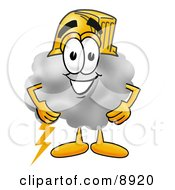 Clipart Picture Of A Cloud Mascot Cartoon Character Wearing A Helmet