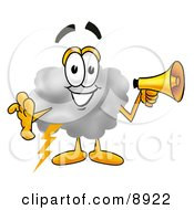 Clipart Picture Of A Cloud Mascot Cartoon Character Holding A Megaphone