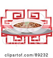 Royalty Free RF Clipart Illustration Of A Bowl Of Chinese Noodle Soup And Chopsticks Over Red