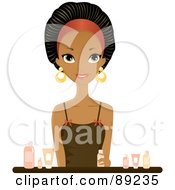 Royalty Free RF Clipart Illustration Of A Gorgeous Black Woman Sitting With Beauty Products