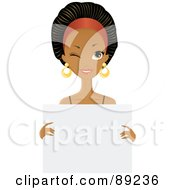 Royalty Free RF Clipart Illustration Of A Gorgeous Black Woman Winking And Holding A Blank White Sign by Melisende Vector #COLLC89236-0068