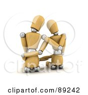 Royalty Free RF Clipart Illustration Of A 3d Wood Manequin Couple Sitting And Embracing by stockillustrations