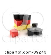 Royalty Free RF Clipart Illustration Of A 3d Black Red And Yellow German Puzzle Cube by stockillustrations