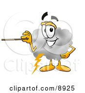 Clipart Picture Of A Cloud Mascot Cartoon Character Holding A Pointer Stick