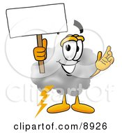 Clipart Picture Of A Cloud Mascot Cartoon Character Holding A Blank Sign
