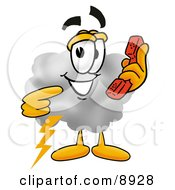 Clipart Picture Of A Cloud Mascot Cartoon Character Holding A Telephone by Toons4Biz