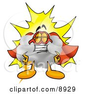Clipart Picture Of A Cloud Mascot Cartoon Character Dressed As A Super Hero by Toons4Biz